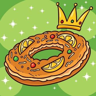 Ilustração de roscón de reyes desenhada à mão