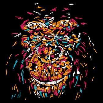 Ilustração de rosto abstrato macaco colorido