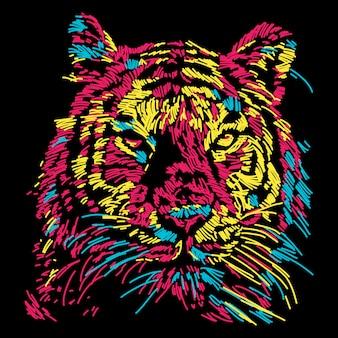 Ilustração de rosto abstrato tigre colorido