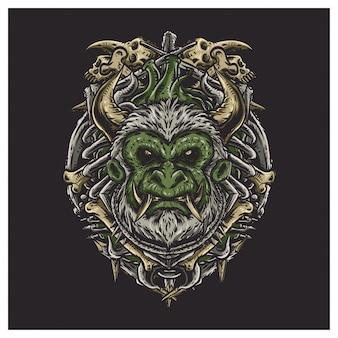 Ilustração de rosto assustador de macaco Vetor Premium