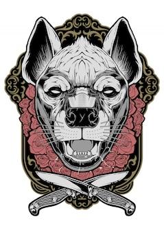Ilustração de rosto de hiena