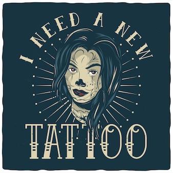 Ilustração de rosto de menina tatuada