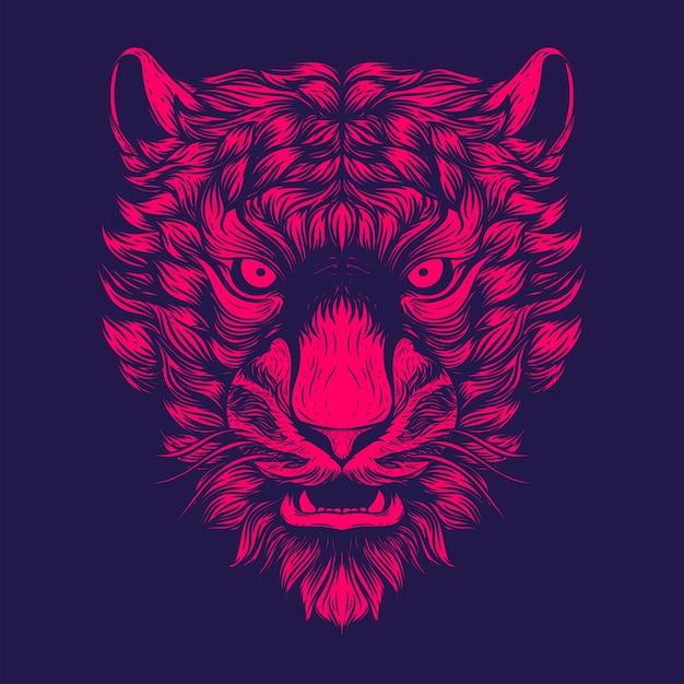 Ilustração de rosto de tigre para tatuagem