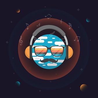 Ilustração de rosto dj com bigode e óculos