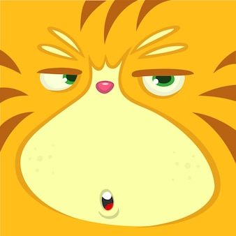 Ilustração de rosto engraçado gato dos desenhos animados