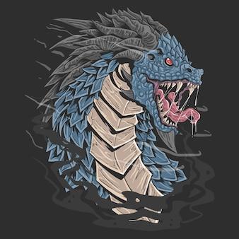Ilustração de rosto irritado de cor azul de cabeça de dragão