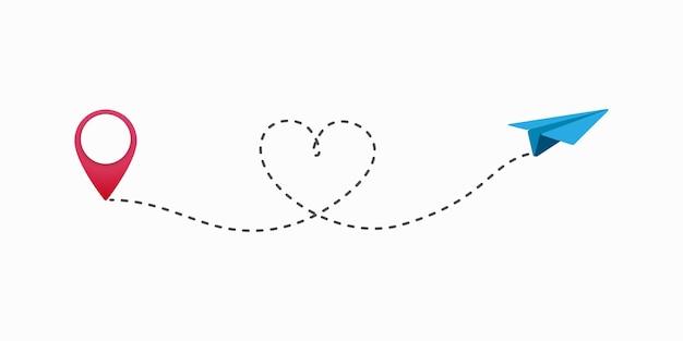 Ilustração de rota de viagem de amor