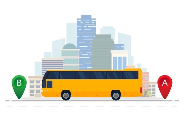 Ilustração de rota de viagem de veículo de ônibus laranja