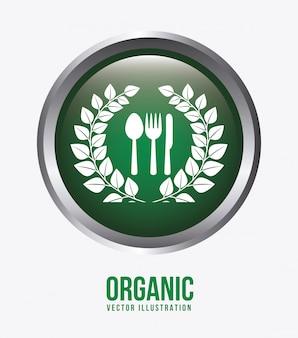 Ilustração de rótulo de alimentos orgânicos
