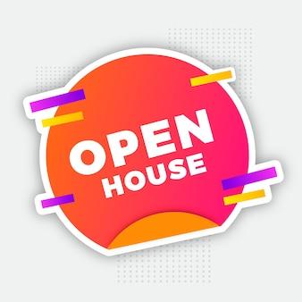 Ilustração de rótulo de casa aberta