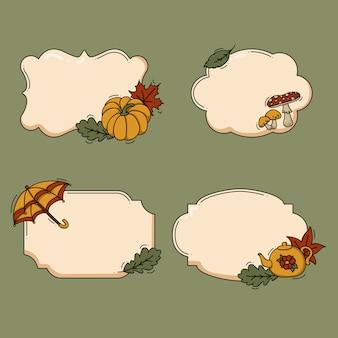 Ilustração de rótulos de outono da coleção