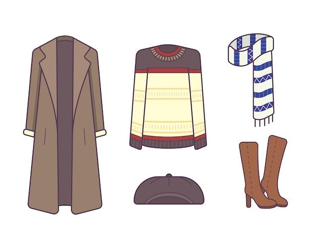 Ilustração de roupas e acessórios elegantes de inverno