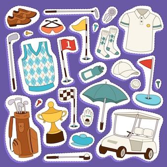 Ilustração de roupas e acessórios para jogador de golfe