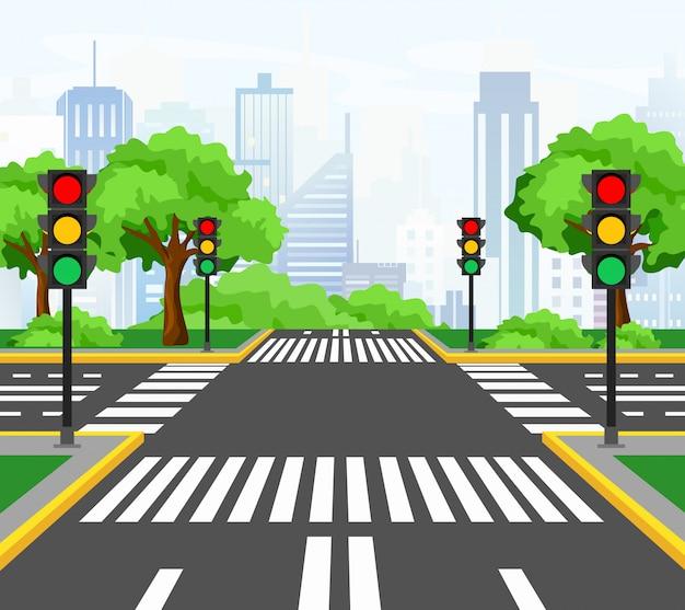 Ilustração de ruas cruzando na cidade moderna, encruzilhada da cidade com semáforos, marcações, árvores e calçada para pedestres. bela vista da cidade em segundo plano.