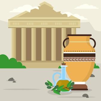 Ilustração de ruínas gregas