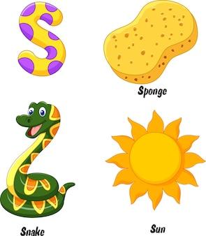 Ilustração, de, s, alfabeto