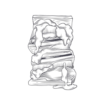 Ilustração de s'more de gravura desenhada à mão