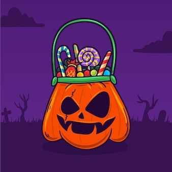 Ilustração de sacola de halloween desenhada à mão