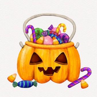 Ilustração de sacola de halloween em aquarela