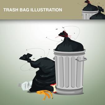 Ilustração de sacos de lixo de plástico