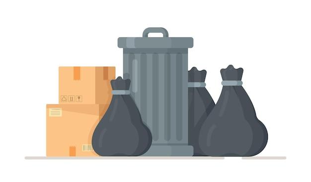 Ilustração de sacos de lixo pretos perto de uma lata de lixo.