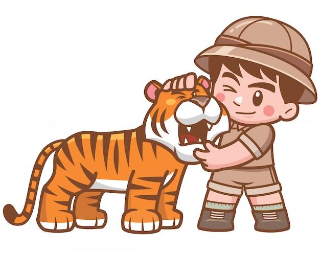 Ilustração de safari boy abraçando tigre