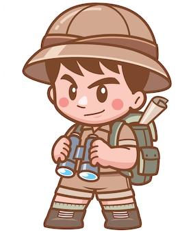 Ilustração de safari boy segurando binóculos