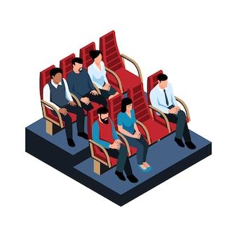 Ilustração de sala de cinema com caracteres isométricos em seus assentos