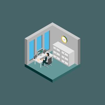 Ilustração de sala de escritório isométrica
