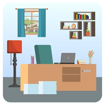 Ilustração de sala de escritório, trabalho em casa