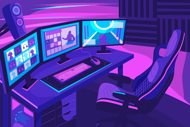 Ilustração de sala de jogador plana orgânica