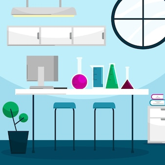 Ilustração de sala de laboratório plana