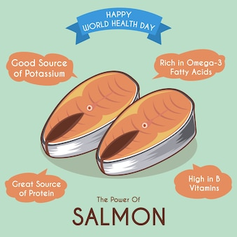 Ilustração de salmão e seus benefícios