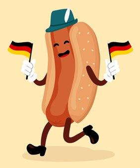 Ilustração de salsicha alemã com sinalizadores de vetor de comida oktoberfest