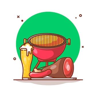 Ilustração de salsichas, carne e cerveja na churrasqueira