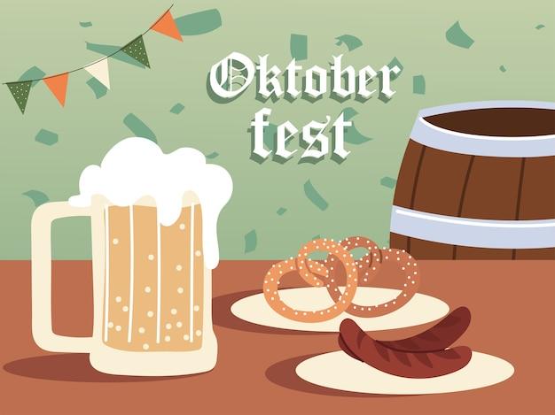 Ilustração de salsichas e pretzels no barril de cerveja da oktoberfest, festival da alemanha e tema de celebração