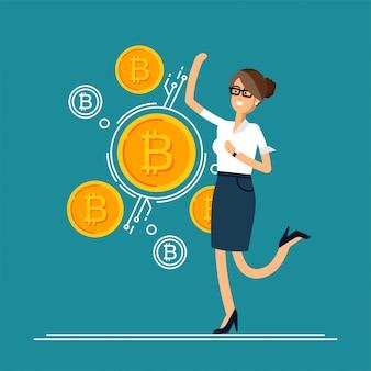 Ilustração de saltos de empresário se alegrar porque ele está fazendo investimentos para bitcoin e blockchain.