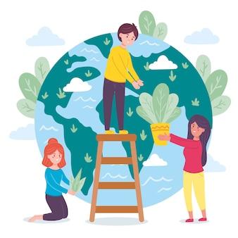 Ilustração de salvar o conceito de planeta