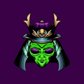 Ilustração de samurai alienígena