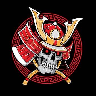 Ilustração de samurai com caveira vermelha