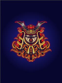 Ilustração de samurai de coruja