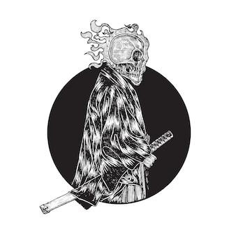 Ilustração de samurai de crânio cabeça-flamejante