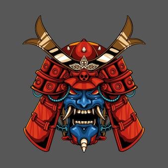 Ilustração de samurai do demônio mecha onimusha