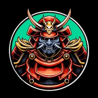 Ilustração de samurai fantasma japonês