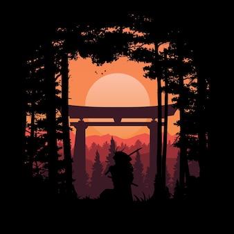 Ilustração de samurai japonês