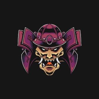 Ilustração de samurai mecha