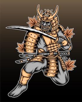 Ilustração de samurai ouro japonês.