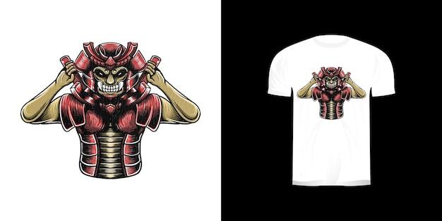 Ilustração de samurai para design de camisetas