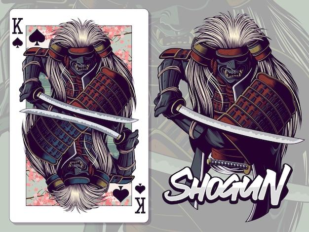 Ilustração de samurai para o design do cartão de jogo rei de espadas