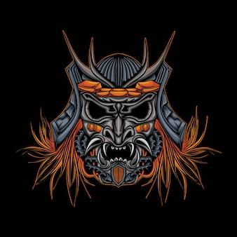 Ilustração de samurai robótico de cabeça de crânio